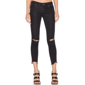 Free People Womens Black Ripped Skinny Jeans